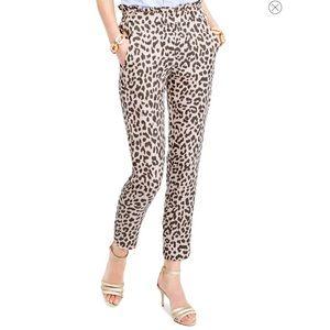 J. Crew Ruffle Waist Leopard Print Linen Pants XL